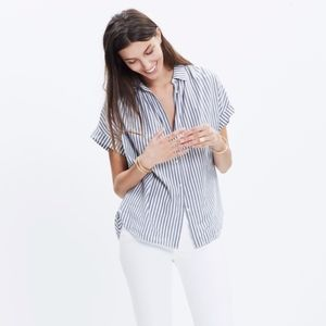 Madewell Gabriel Striped Top Striped Button Front